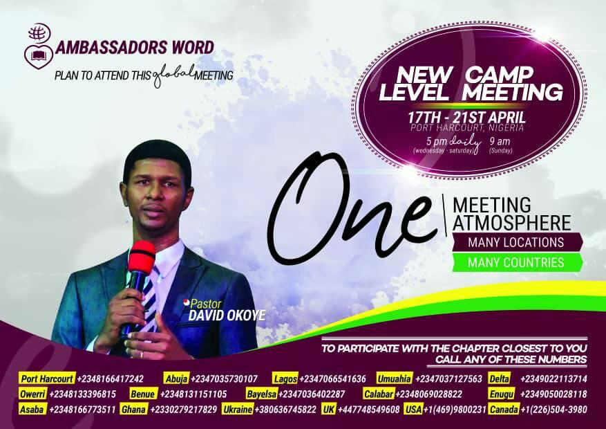 ambassadors word church easter camp meeting with pastor david okoye