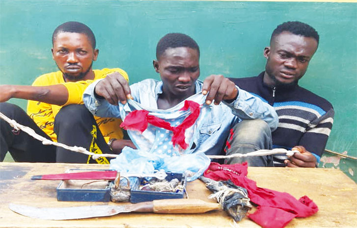 Police arrests three with female panties tied with charms in Ogun
