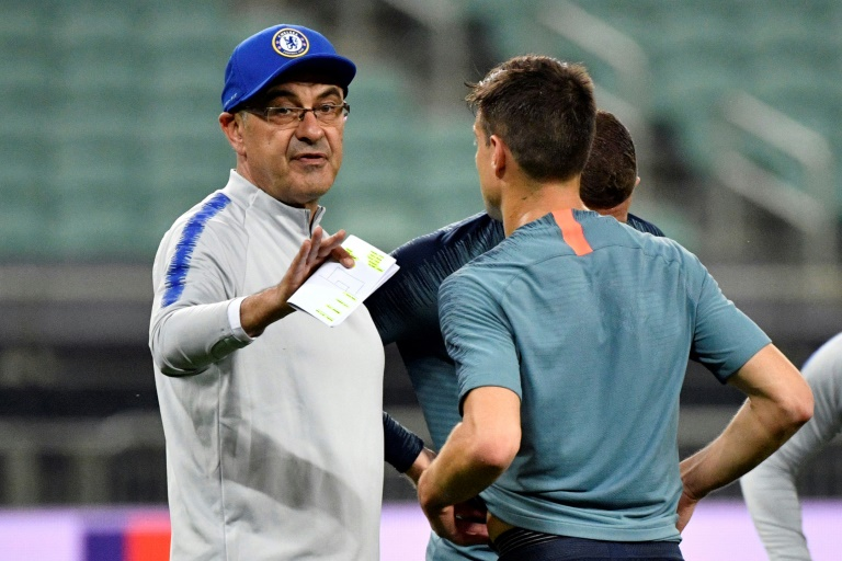 Chelsea's head coach Maurizio Sarri at his team's training session at the Baku Olympic Stadium on Wednesday