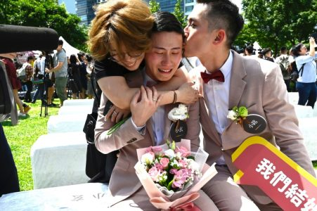 Shane Lin and Marc Yuan were the first to register for marriage in Taipei