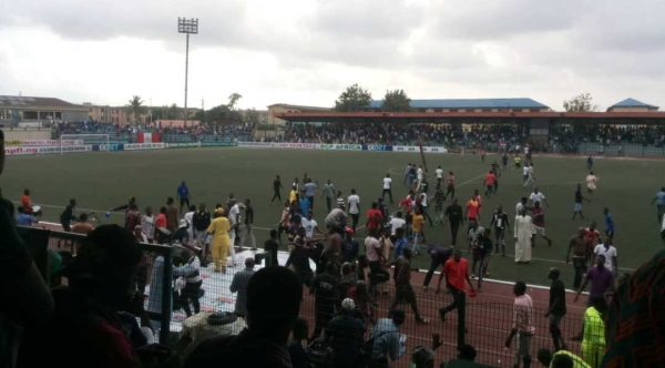 Scene of the attack during the match between Rangers International and Kano Pillars at the Agege