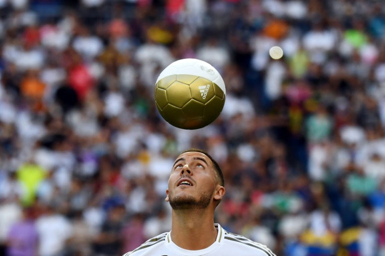 Around 50,000 fans turned out to welcome Hazard to Madrid
