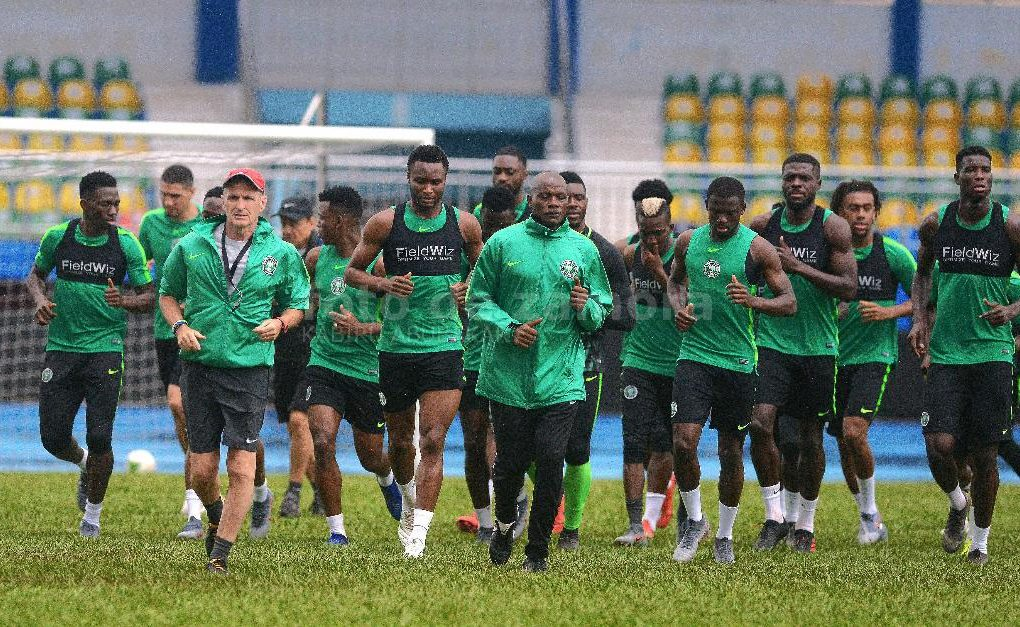 Mikel leads the Super Eagles training in Asaba