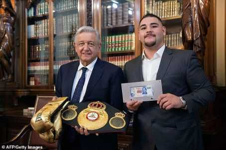 Andy Ruiz Jnr has been Honoured by the Mexican President Andres Manuel Lopez after his shocking win over Anthony Joshua, MySportDab reports. The 29-year-old became Mexico's first ever heavyweight world champion by stopping Joshua inside seven rounds to capture the WBA, WBO and IBF titles. Ruiz, who has received considerable attention since his shock win over Joshua, was the guest of honour at the Palacio Nacional on Tuesday. Obrador invited Ruiz and commemorated him on his achievement before presenting the heavyweight with a pair of golden gloves and a 500 Mexican Peso bill.