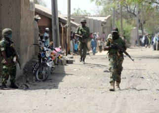 Nigerian Soldiers on patrol around the area in Borno