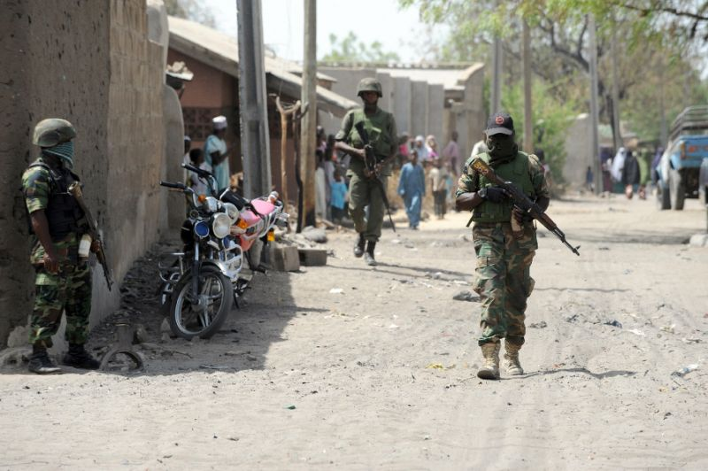 Nigerian Soldiers on patrol around the area in Borno