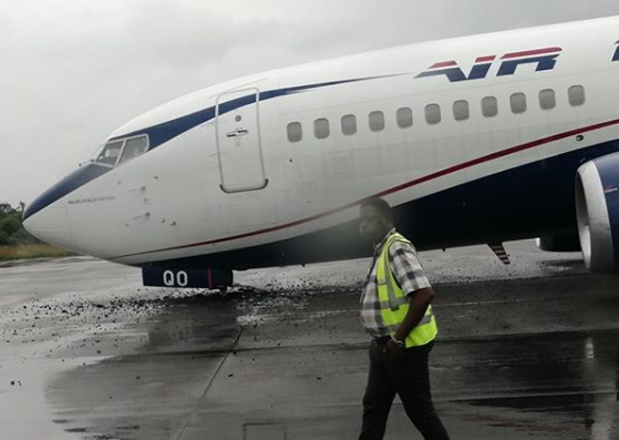 Air Peace plane landed in Lagos without its front tyres on Tuesday 23rd July, 2019