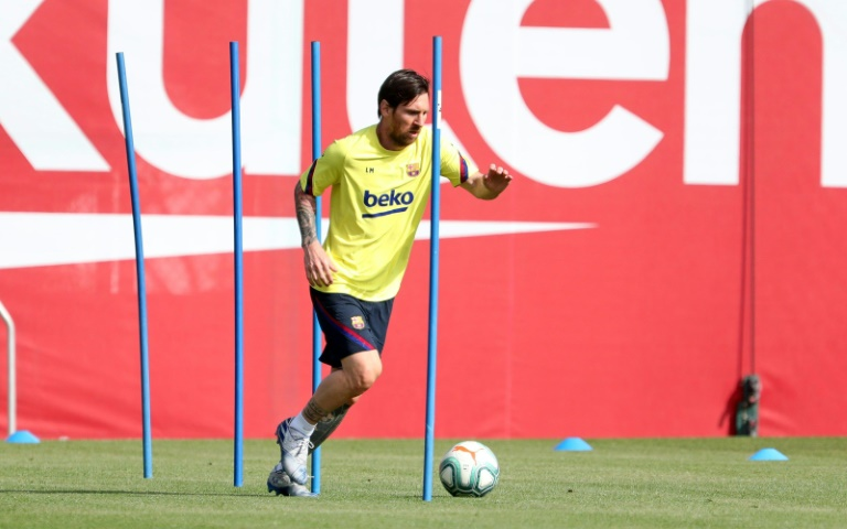 Lionel Messi recommenced training at Barcelona's Joan Gamper facility on Friday as La Liga eyes a June return to action