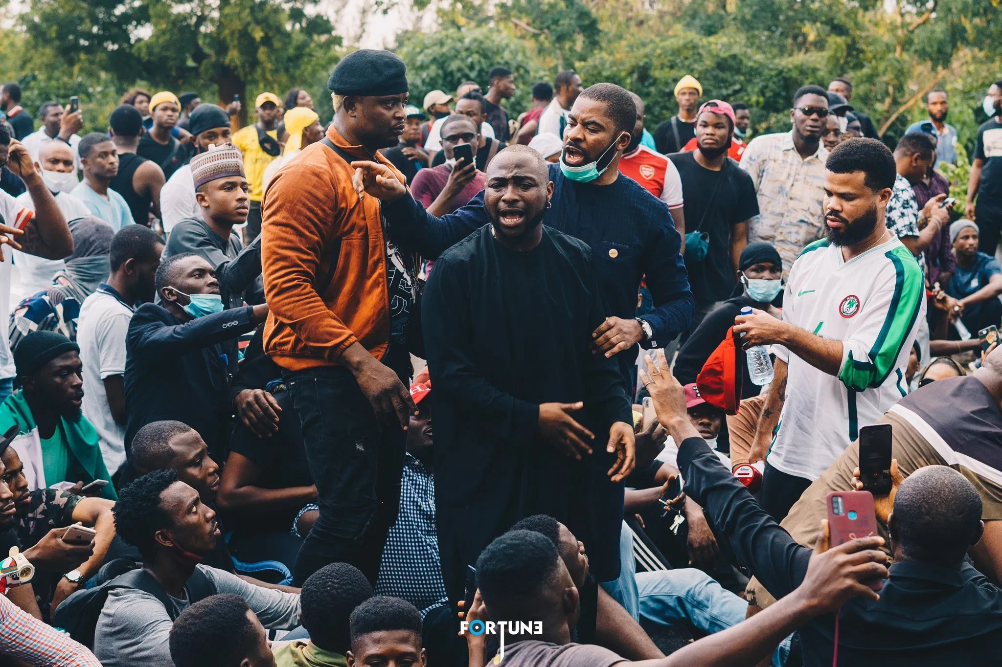 Popular musician Davido came out for #ENDSARS protest