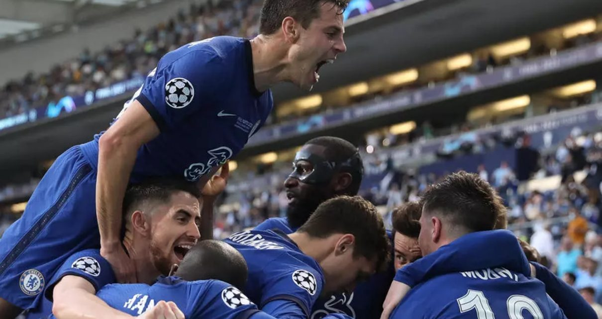 Chelsea celebrate German midfielder Kai Havertz's goal in their 1-0 Champions League final win against Manchester City in Porto, Portugal, May 29, 2021.